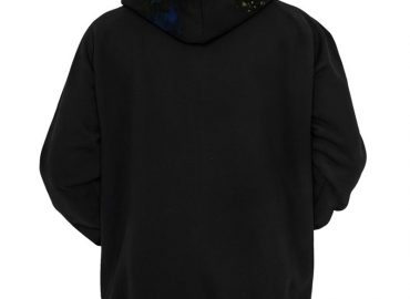 A cool black einstein hoodie featuring him smoking with galaxy matter coming out