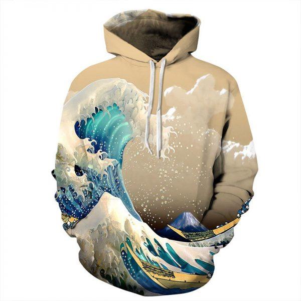 Chill Hoodies Wave Crashing Hoodie Mt Fuji Surf Unisex Adult Beige Sweatshirt