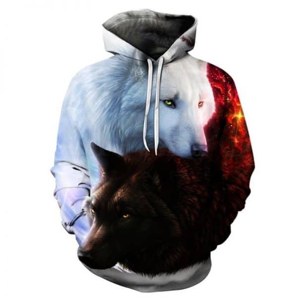 Chill Hoodies White Black Wolves Hoodie Unisex Adult Wolf Sweatshirt