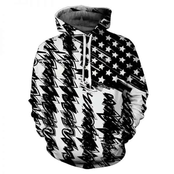 Chill Hoodies American Flag Hoodie Abstract Black White Unisex Adult Sweatshirt