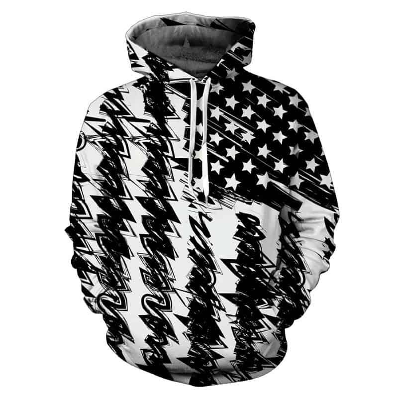 Chill Hoodies American Flag Hoodie Abstract Black White Unisex Adult Sweatshirt