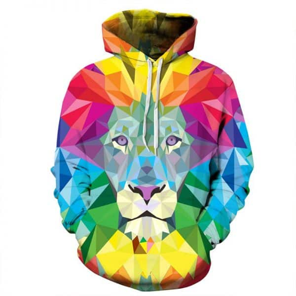 Chill Hoodies Colorful Lion Hoodie Abstract Unisex Adult Sweatshirt