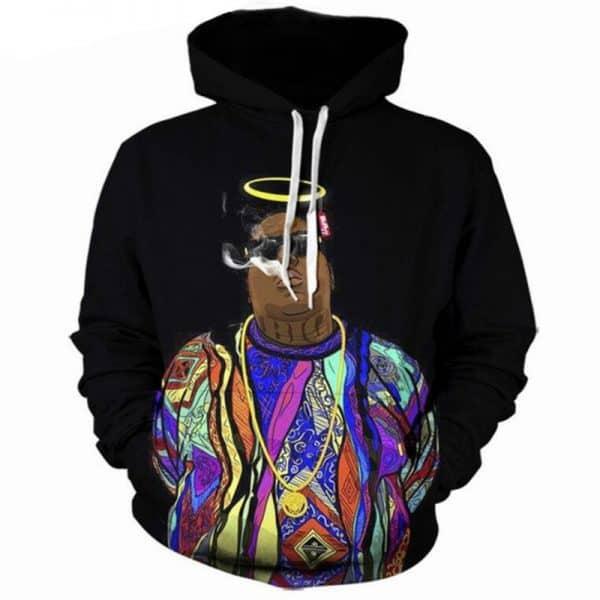 Chill Hoodies Black Biggie Hoodie Angel East Side Notorious BIG Frank White Unisex Adult Sweatshirt