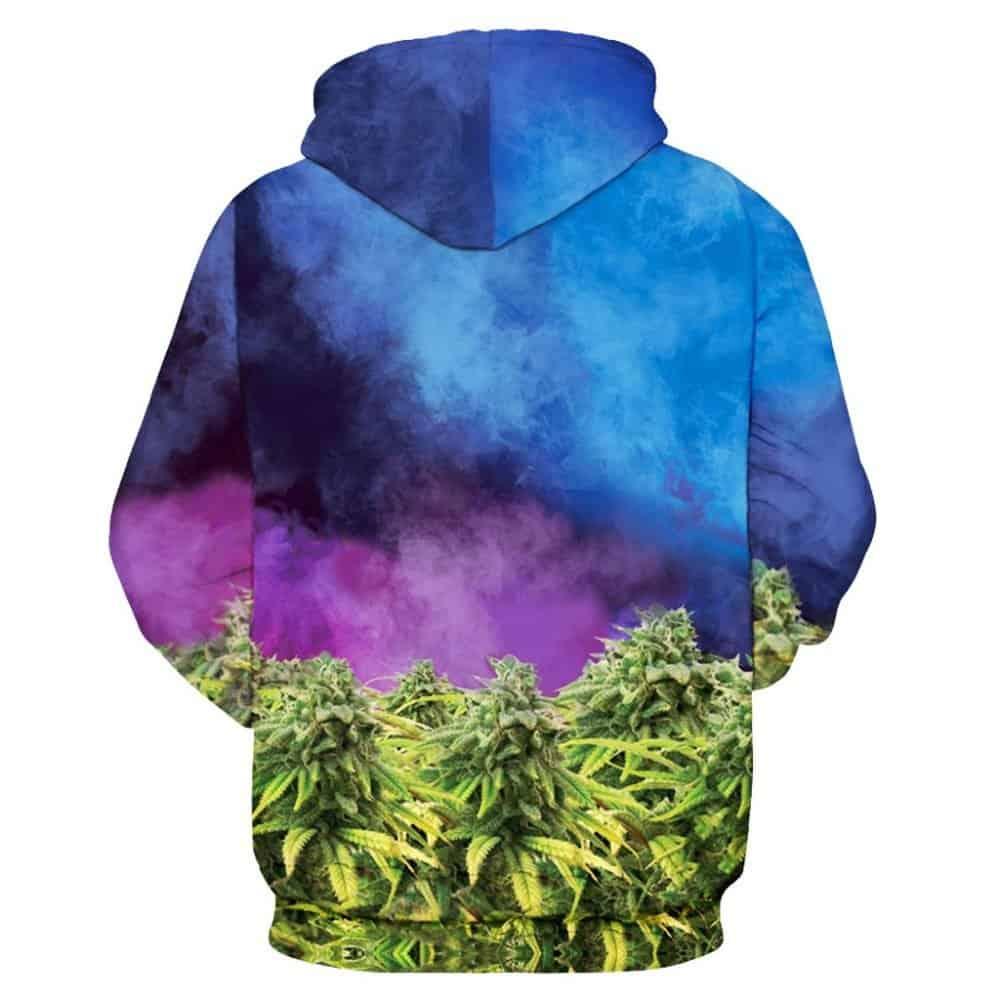 cat marijuana hoodie back