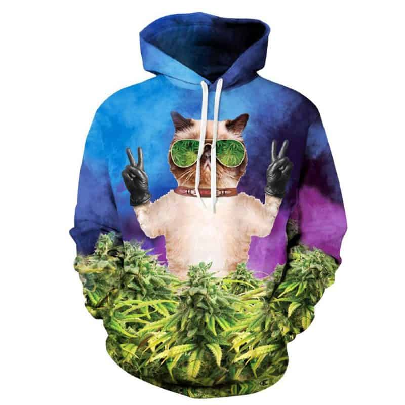 Chill Hoodies Cat Marijuana Hoodie Meme Ganja Weed Cannabis Unisex Adult Sweatshirt
