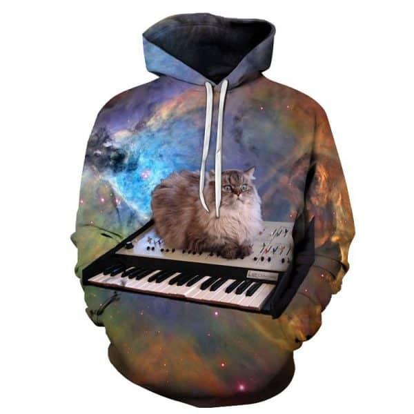 Chill Hoodies Cat Hoodie Meme Bongo Cat Keyboard Unisex Adult Sweatshirt