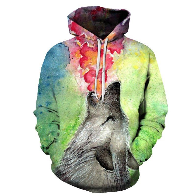 Chill Hoodies Howling Wolf Hoodie Watercolour Okami Unisex Adult Sweatshirt