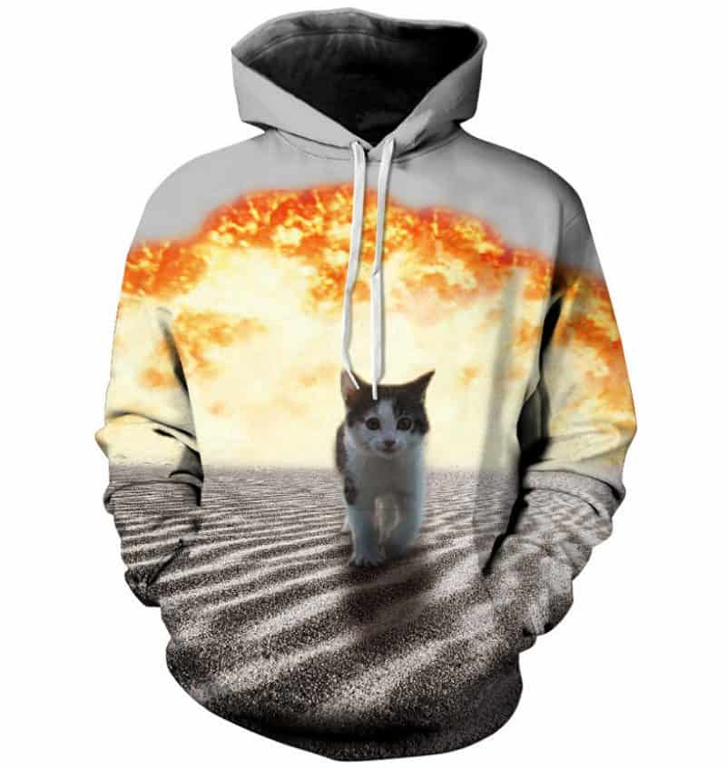 Chill Hoodies Cats and Explosions Hoodie Cute Kitten Meme Unisex Adult Sweatshirt