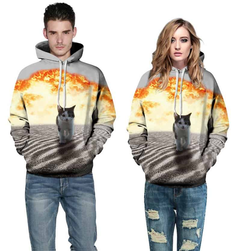 Models showcasing Cats and Explosions Hoodie