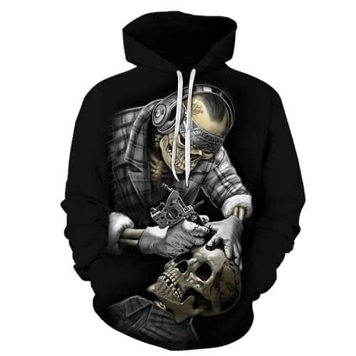 Chill Hoodies Skeleton Tattoo Artist Hoodie Tattoos Black Unisex Adult Sweatshirt