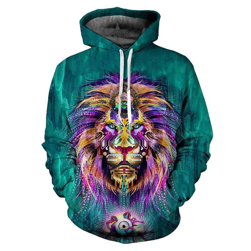 Chill Hoodies Blue Majestical Lion Hoodie Robotic Unisex Adult Sweatshirt