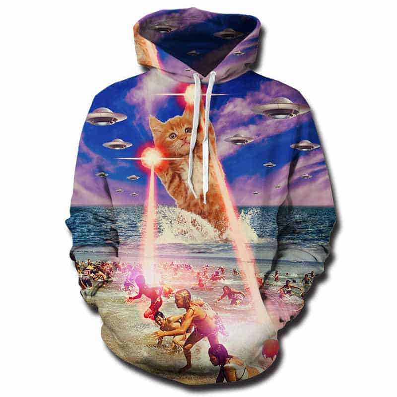 Chill Hoodies Laser Beam Cat Hoodie Meme Space War Unisex Adult Sweatshirt