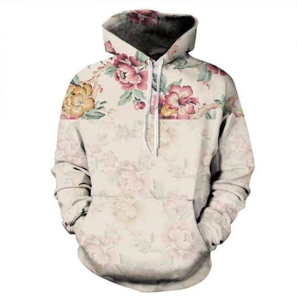 Chill Hoodies Faded Floral Hoodie Unisex Adult Sweatshirt