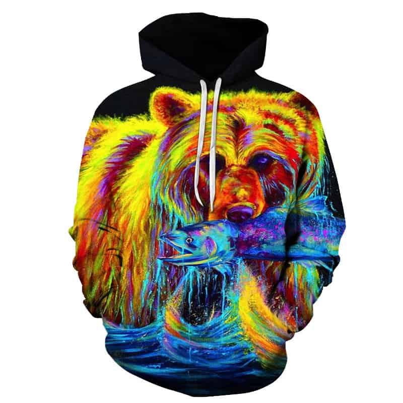 Chill Hoodies Fishing Bear Hoodie Neon Psychedelic Brown Bear Unisex Adult Sweatshirt