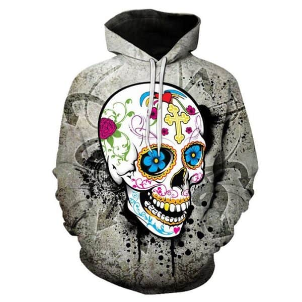 Chill Hoodies Skull Hoodie Flower Power Unisex Adult Sweatshirt
