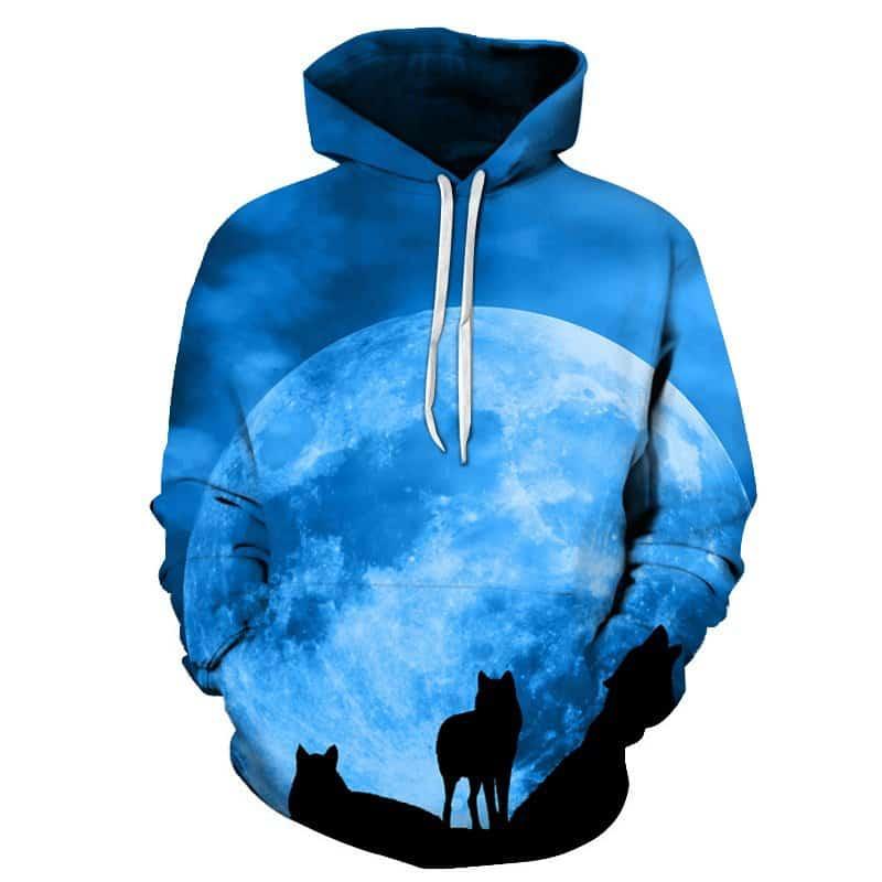 Chill Hoodies Wolf Pack Hoodie Full Moon Wolves Unisex Adult Sweatshirt
