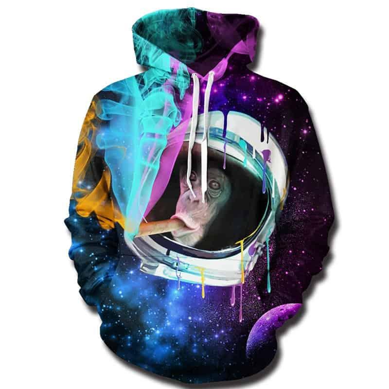 Chill Hoodies Space Monkey Hoodie Astronaut Ape Smoking Unisex Adult Sweatshirt