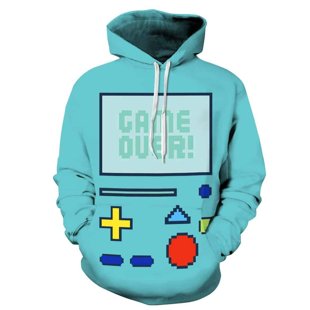 Chill Hoodies Light Blue Nintendo Gameboy Hoodie Gameover Unisex Adult Sweatshirt