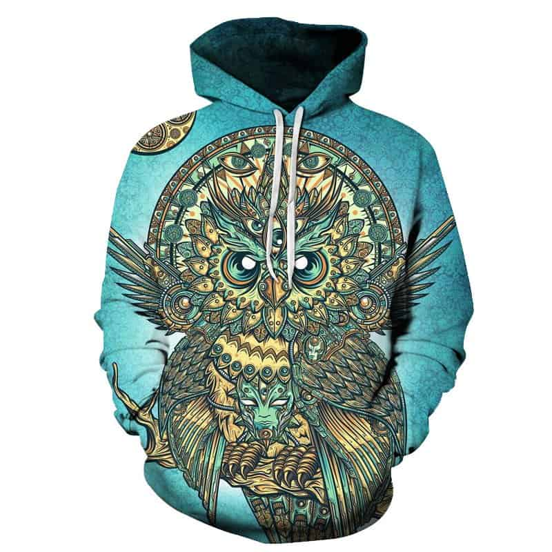 Chill Hoodies Majestic Owl Hoodie Trippy Owls Tribal Unisex Adult Sweatshirt