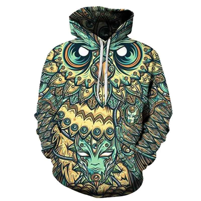 Chill Hoodies Teal Owl Hoodie of Dreams Mask Tribal Wood Carved Unisex Adult Sweatshirt