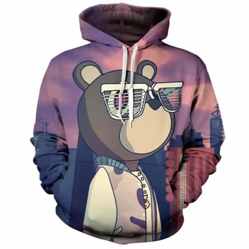 Chill Hoodies Graduation Kanye West Hoodie Bear Mascot Yeezy Glasses Hip Hop Unisex Adult Sweatshirt