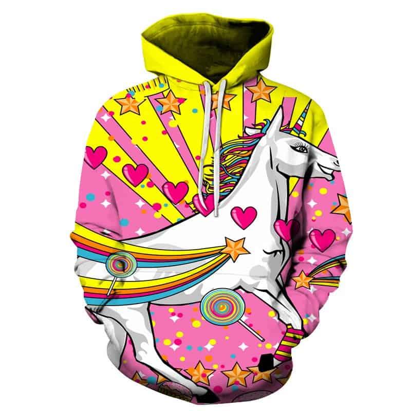 Chill Hoodies Majestic Pink Unicorn Candy Hoodie Meme Cartoon Unisex Adult Sweatshirt