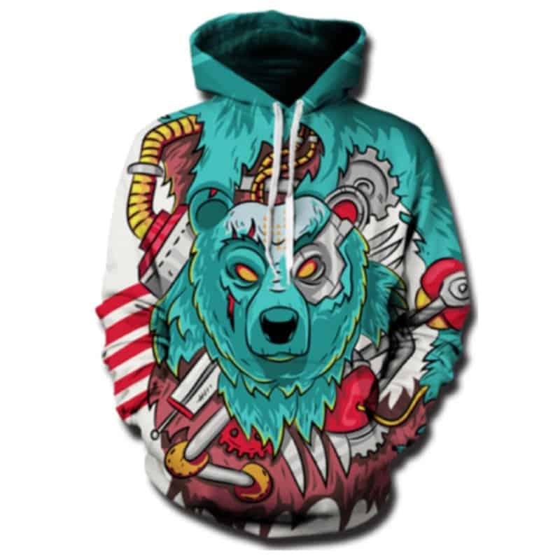 Chill Hoodies Robotic Bear Hoodie Winter Christmas Unisex Adult Sweatshirt