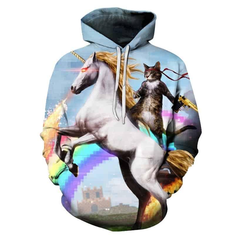 Chill Hoodies Cat Riding Unicorn Epic Meme Unisex Adult Sweatshirt
