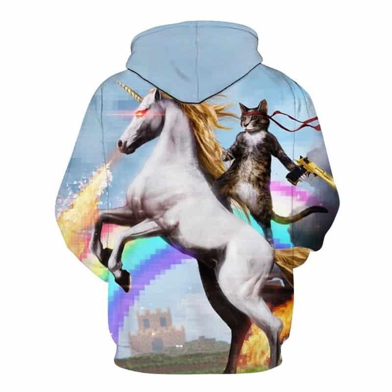 Chill Hoodies Sweatshirts Men Women Kids Adult Majestic Cat Riding A Unicorn Hoodie 1