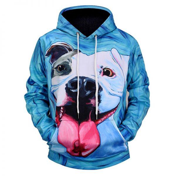 Chill Hoodies Cute Bulldog Hoodie Blue Background Unisex Adult Sweatshirt