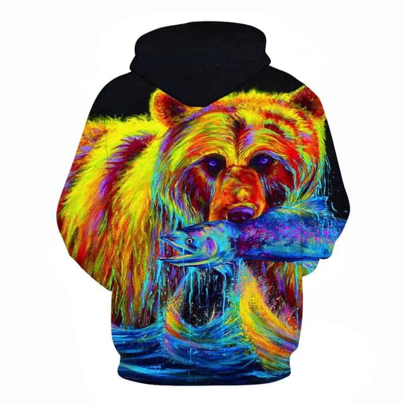 Chill Hoodies Sweatshirts Men Women Kids Adult Fishing Bear Hoodie Neon Style 1