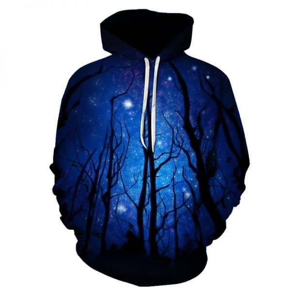 Chill Hoodies Night Forest Hoodie Galaxy Space Environment Unisex Adult Sweatshirt