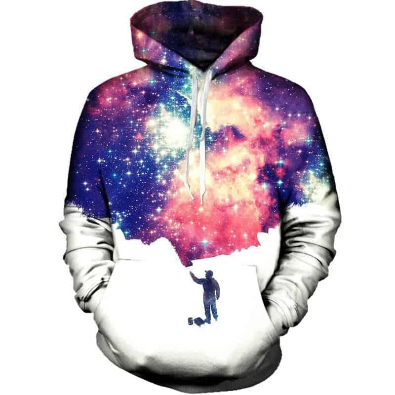 Chill Hoodies Galaxy Painting Hoodie White Adult Unisex Space Sweatshirt