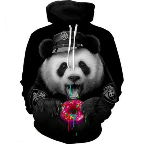 Chill Hoodies Panda Police Hoodie Donut Unisex Black Adult Sweatshirt