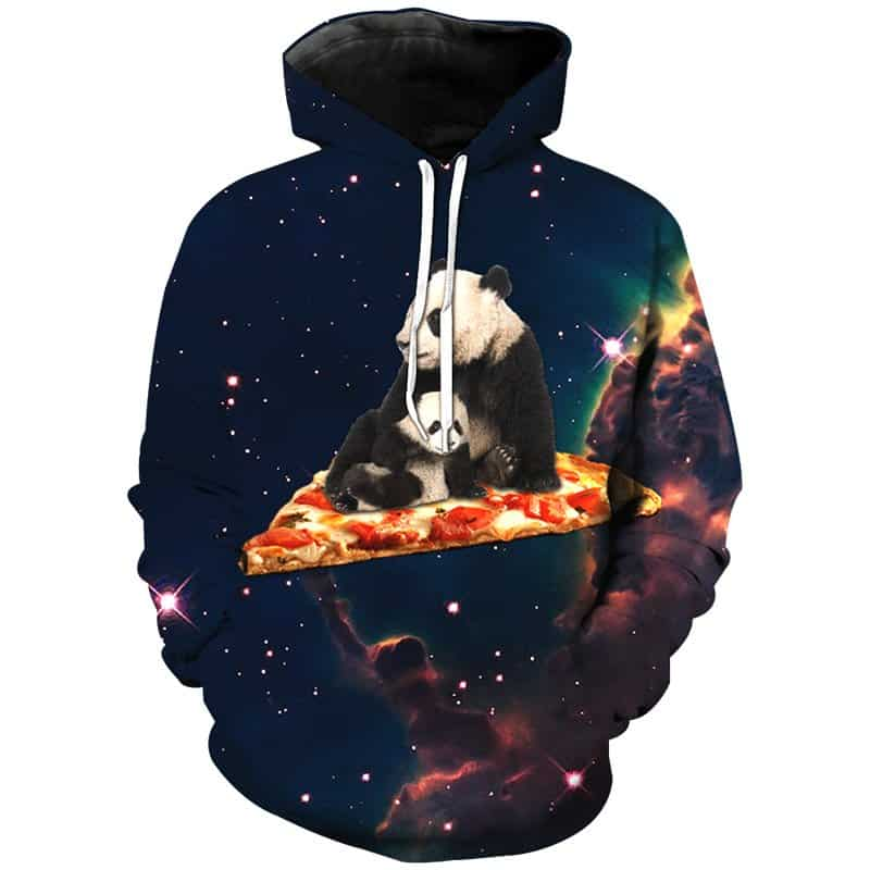 Chill Hoodies Space Panda Pizza Hoodie Meme Galaxy Adult Unisex Sweatshirt