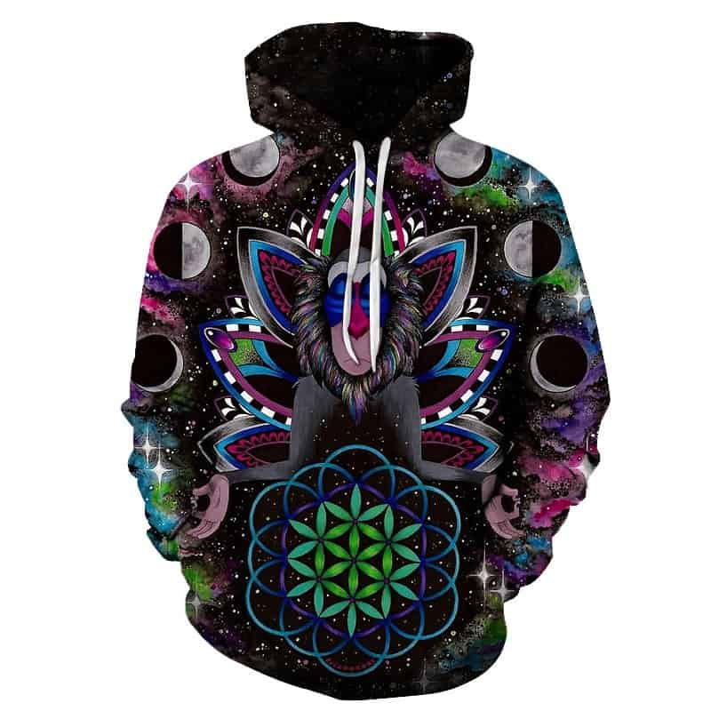 Chill Hoodies Trippy Space Monkey Hoodie Unisex Adult Ape Sweatshirt