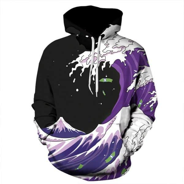 Chill Hoodies Cartoon Purple Waves Hoodie Mt Fuji Japan Unisex Adult Sweatshirt