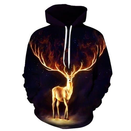 Chill Hoodies Glowing Radiant Deer Hoodie Unisex Adult Black Sweatshirt