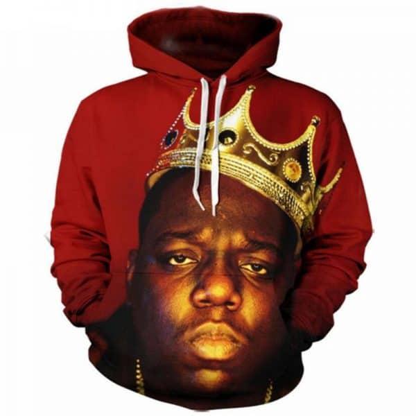 Chill Hoodies Red Biggie Hoodie BIG Notorious Hip Hop Unisex Adult Sweatshirt
