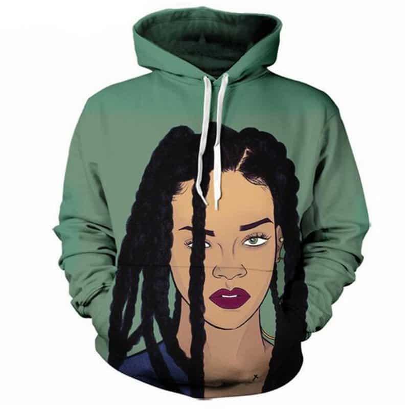 Rihanna Hoodie Hip Hop Beautiful Artist Green Sweatshirt Unisex Adult