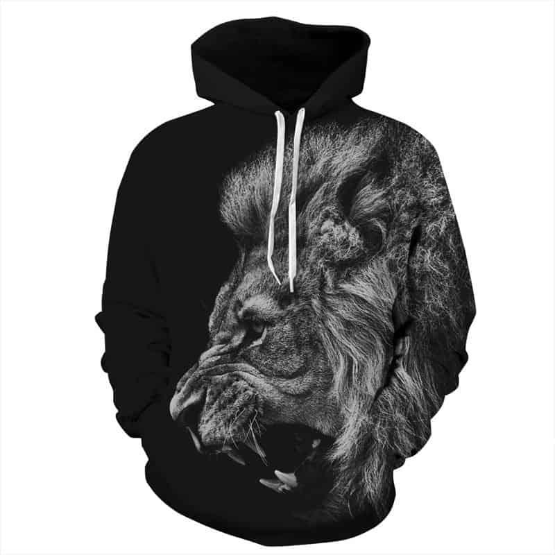 Chill Hoodies Black Lion Hoodie Fierce Road Unisex Adult Sweatshirt