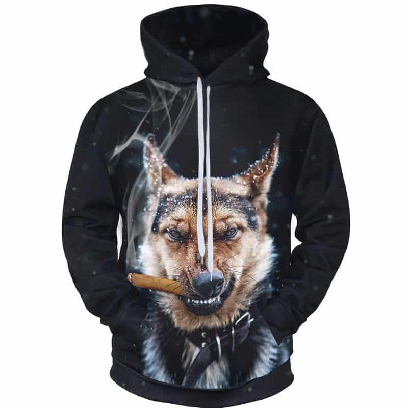 Chill Hoodies Smoking German Shepherd Hoodie Alsatian Dog Unisex Adult Sweatshirt