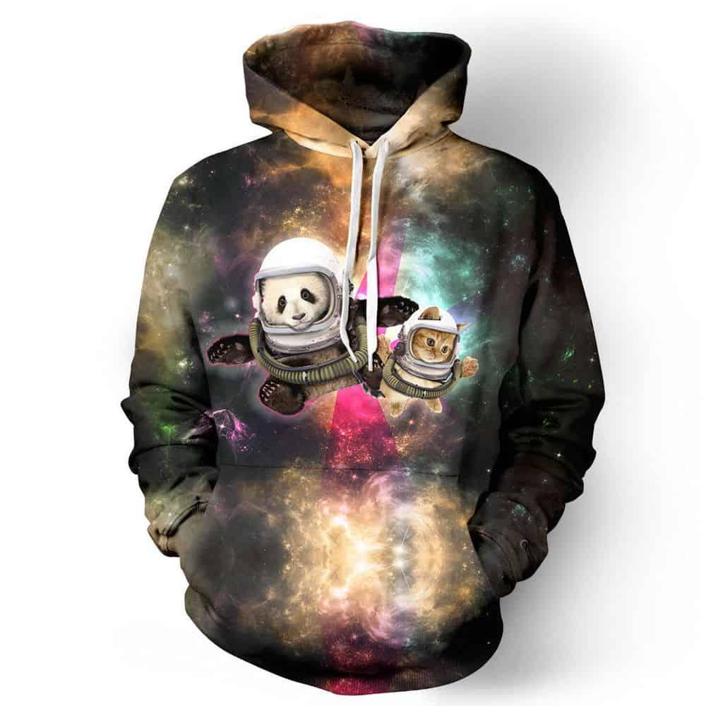 Chill Hoodies Space Animals Hoodie Panda Cat Astronauts Unisex Adult Sweatshirt