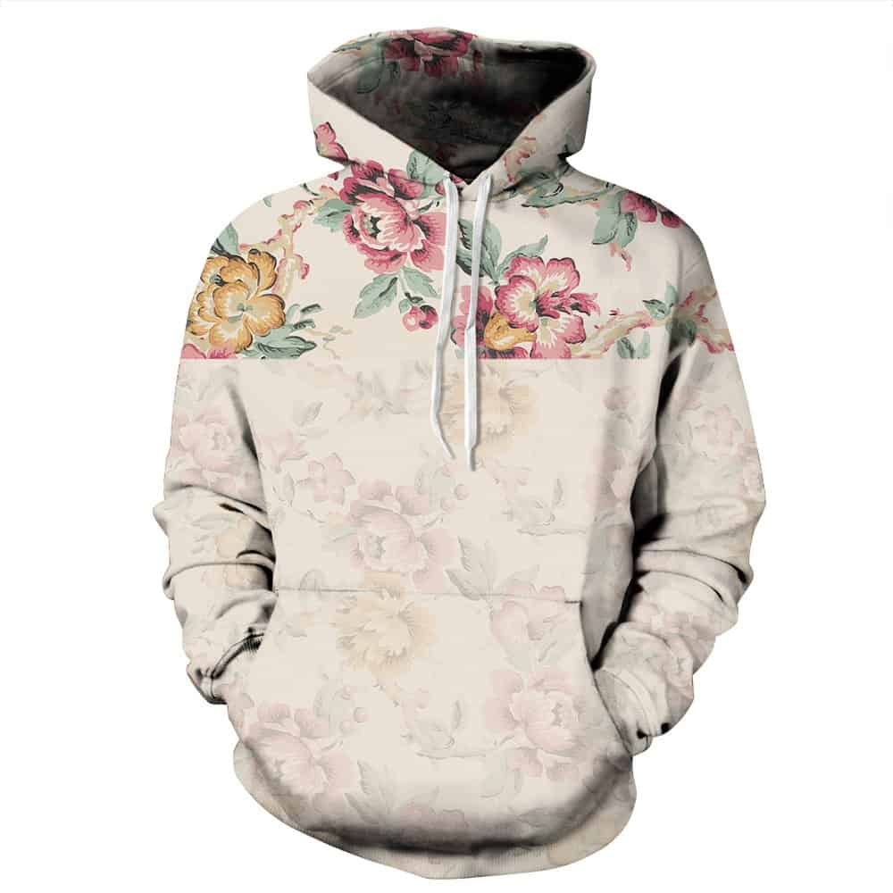 Chill Hoodies Subtle Floral Pattern Hoodie Unisex Adult Sweatshirt