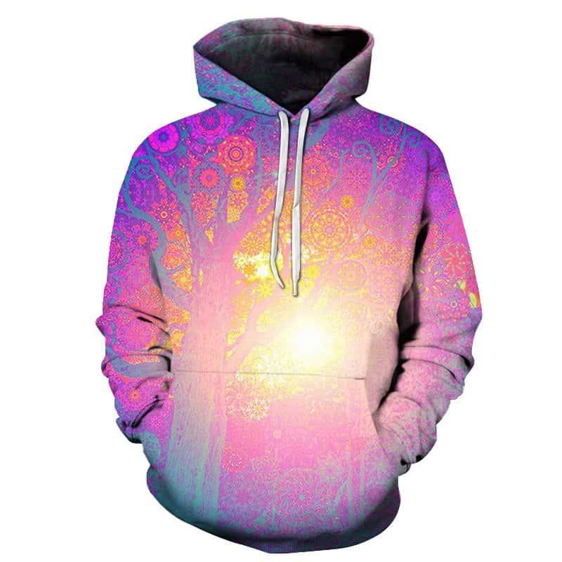 Sun Tree Hoodie Pink Artistic Trees Unisex Adult Sweatshirt