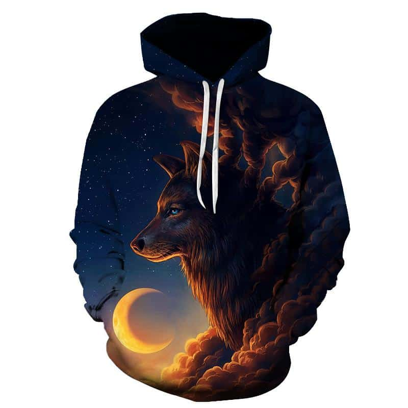 Chill Hoodies Sunrise Guardian Wolf Hoodie Galaxy Space Adult Unisex Sweatshirt