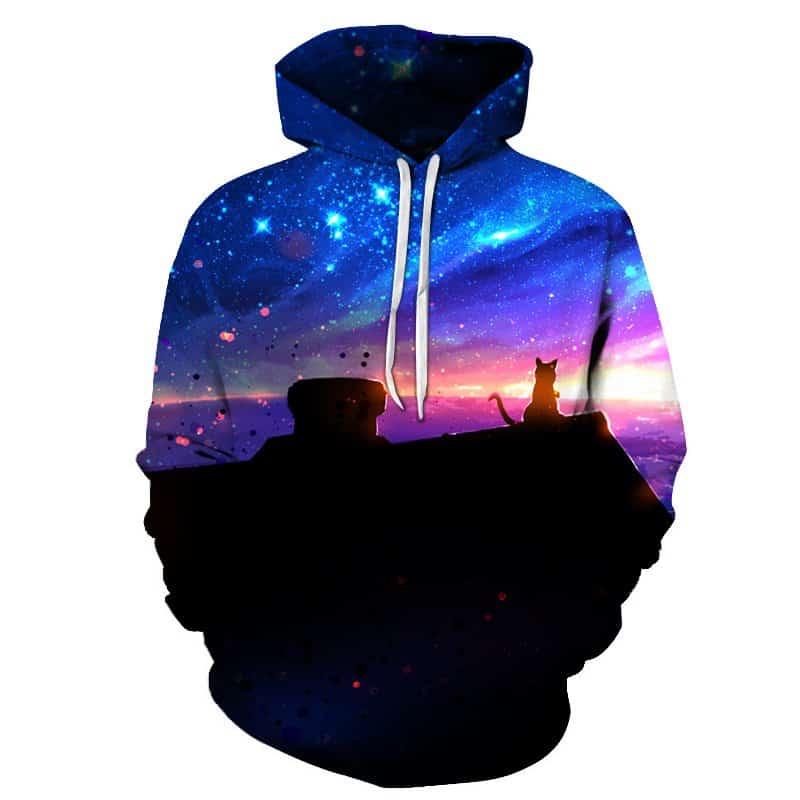 Chill Hoodies Galaxy Watcher Cat Hoodie Space Unisex Adult Sweatshirt