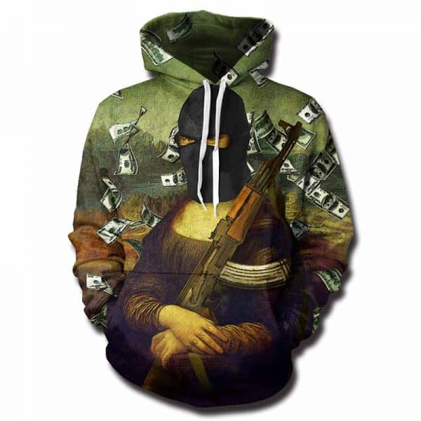 Chill Hoodies Thug Life Gangster Mona Lisa Hoodie Art Unisex Adult Sweatshirt