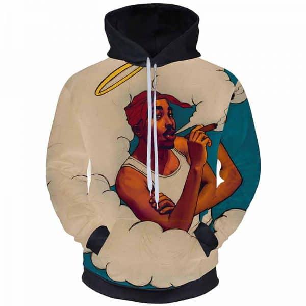 Chill Hoodies Angel Tupac Hoodie 2pac Smoking Heaven Unisex Adult Sweatshirt