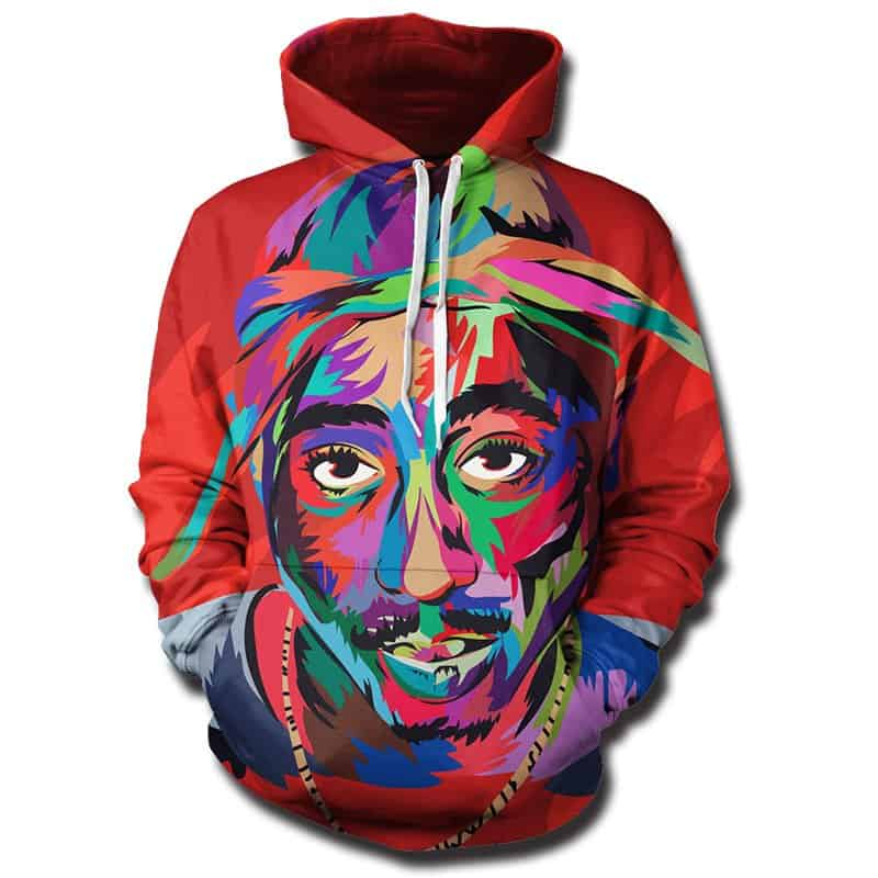 Chill Hoodies Tupac Hoodie 2pac Camo Multi Colored Red Unisex Adult Sweatshirt